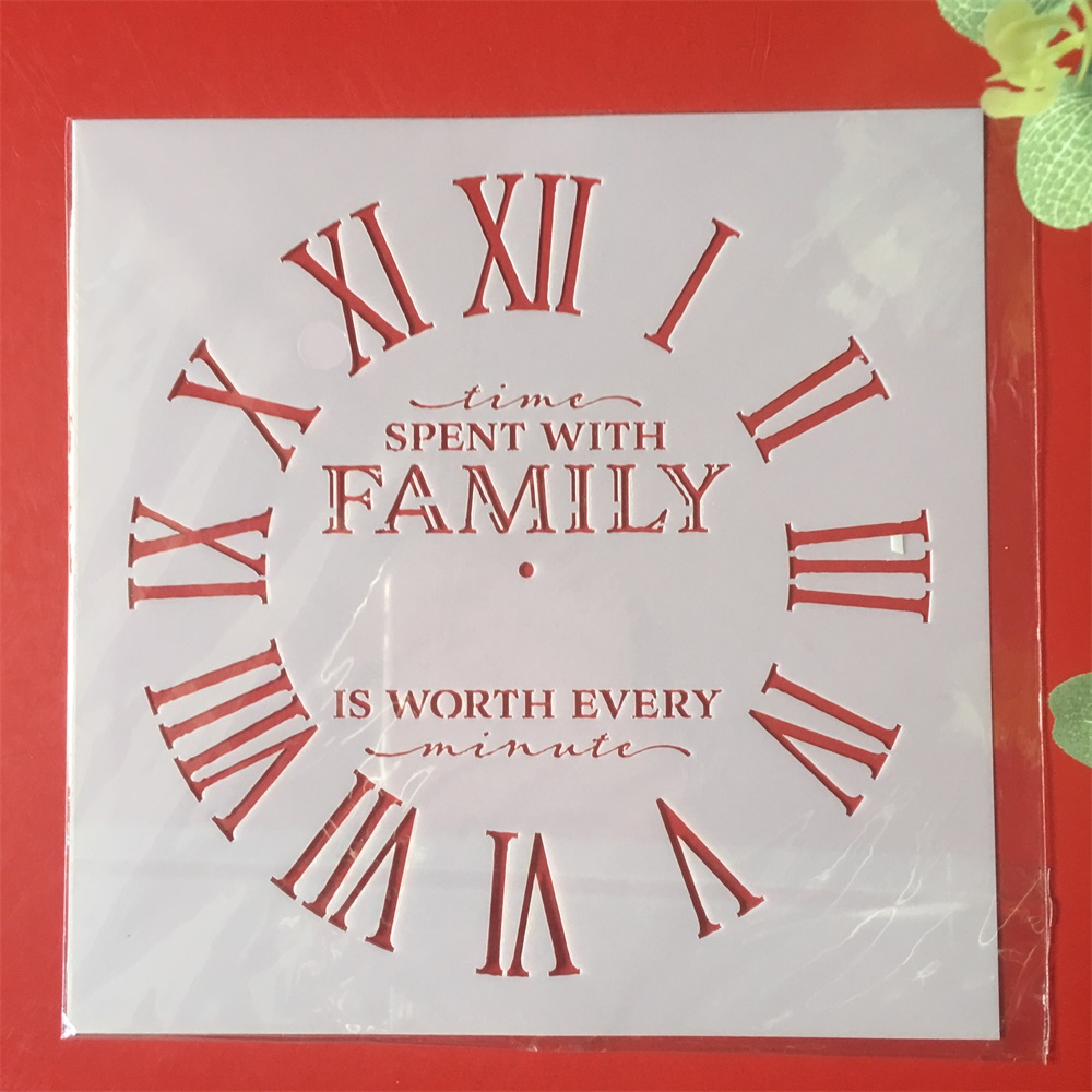 New 15*15cm Clock Family Dial DIY Layering Stencils Painting Scrapbook Coloring Embossing Album Decorative Card Template