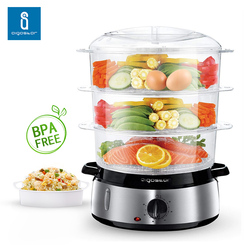 Aigostar Fitfoodie 30INA   Vaporiera elettrica in acciaio inox  con Timer  3 cestini  800W  BPA Free Fornetti a vapore|Electric Food Steamers| |  - title=