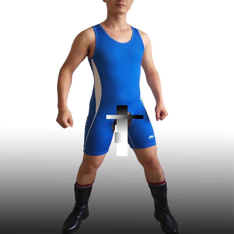 Wurst Man One ชิ้นเปิด Crotch เปิดปุ่มที่กำหนดเองเกย์มวยปล้ำเซ็กซี่น้ำหนักยกชุดออกกำลังกาย