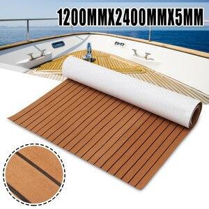 Image 1 - 120cm x 240cm x 5mm Selbst Klebe EVA Schaum Faux Teak Blatt Boot Yacht Synthetischen Teak Decking braun und Schwarz Großhandel