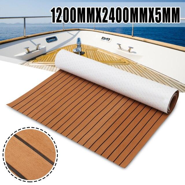 120cm x 240cm x 5mm auto adhésif EVA mousse Faux teck feuille bateau Yacht synthétique teck platelage brun et noir en gros