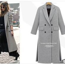 Wide-waisted Casual Long Winter Fashion Wool Coats White Gra