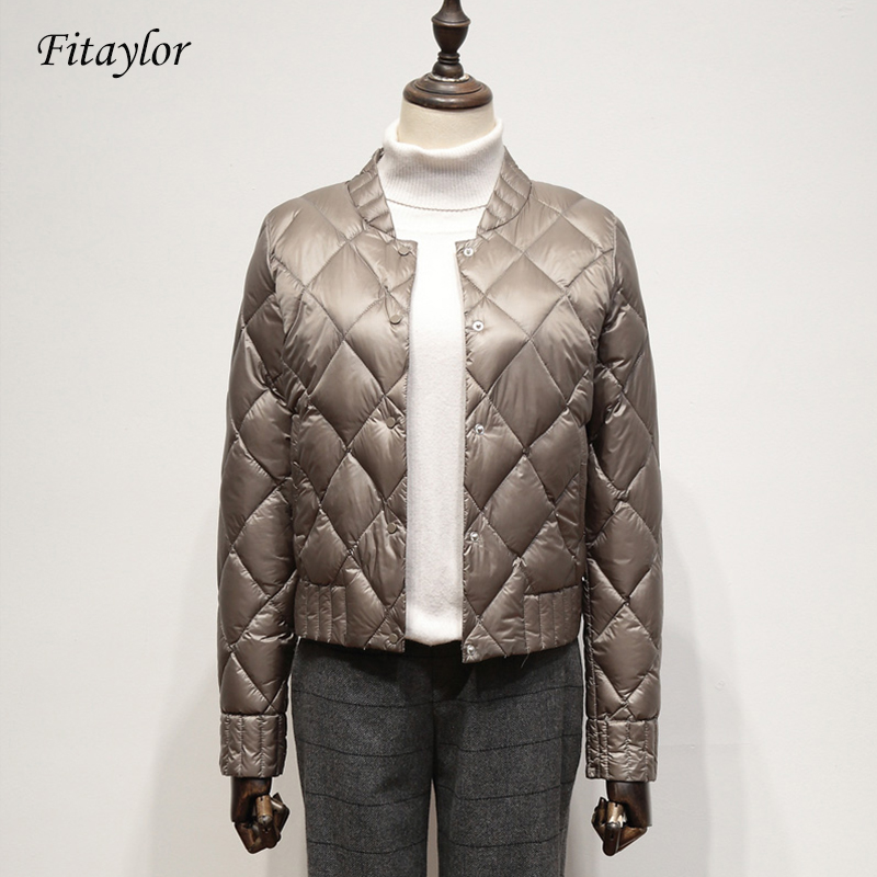 Fitaylor Ultra Light White Duck Down Jackets Autumn Winter Women Plus Size 3XL Short Coat Slim Warm Black Down Coats