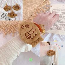 Monedero creativo de muñeca pequeña de felpa para mujer y niña, bolsa de Snapper de pescado multifuncional, funda para llave de tarjeta, llavero, bolso
