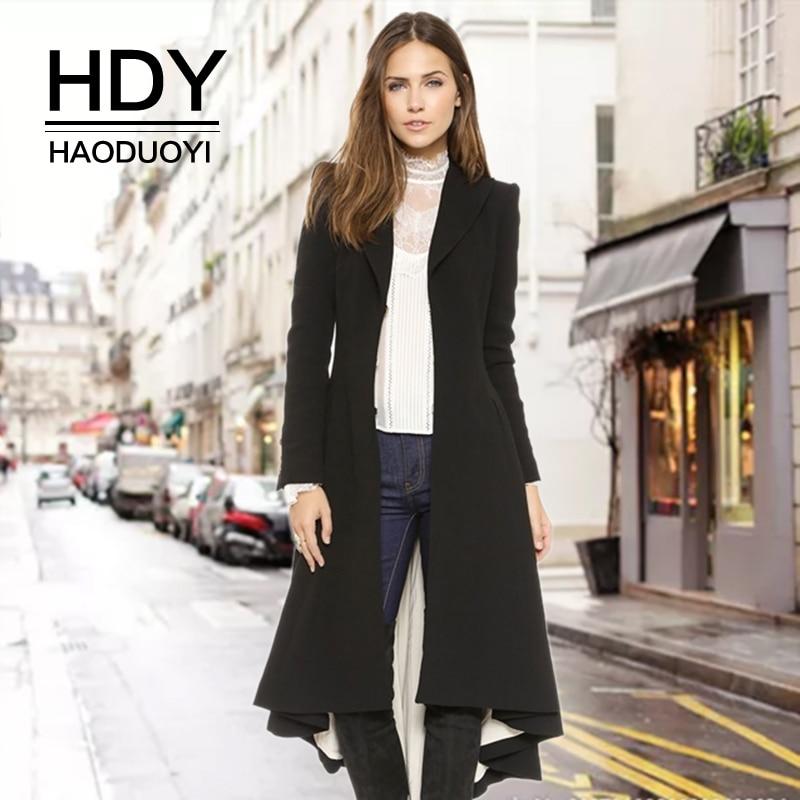 HDY Haoduoyi Autumn Winter New Fashion Casual Women Slim Long Outwears Wool Blend Warm Classic Female Windbreaker   Trench   Coat