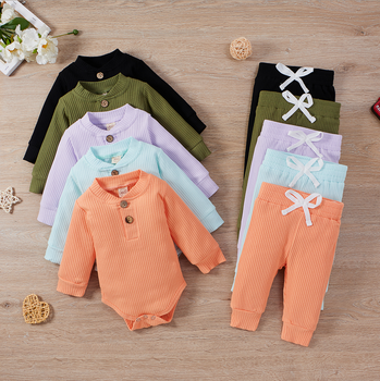 Baby Solid Clothes Long Sleeve Romper and Pants Set 6