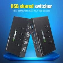 4 порта KVM USB переключатель 4 в 4 выхода переключатель для клавиатуры мыши принтера монитора 4 шт. совместное использование 4 устройств USB 2,0 рас...