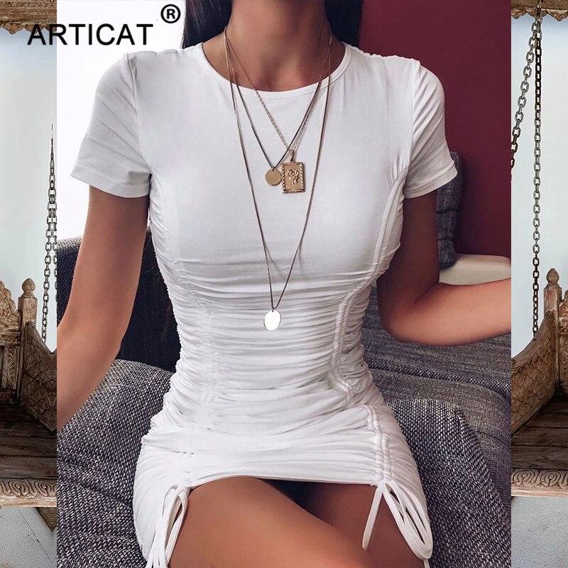 Artigato vestido de manga curta plissado, branco,
