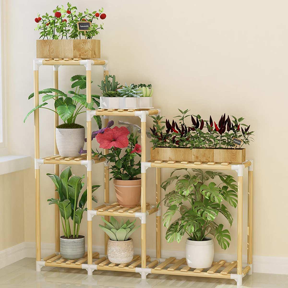 Wooden Flower Rack Plant Stand Multi-layer Flower Stand Shelves Balcony Flower Shelf Coffee Bar Indoor Garden Wood Plant Stand