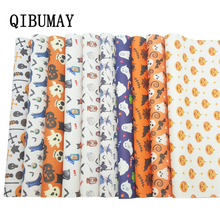 QIBUMAY Halloween Leather Fabric Sheet Ghost Printed Faux For Bows Festival Decoration 22*30cm Synthetic