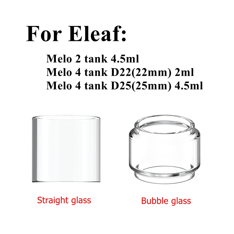 Pyrex Glass Tank For Eleaf Melo 2 / Melo 4 D22(22mm) D25(25mm) 2ml 4.5ml Tank Atomizer Replacement Glass Tube Ikuun I80 80W Kit
