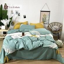 Liv-Esthete Luxury 100% Silk Lace Silky Bedding Set Healthy Duvet Cover Bed Sheet Double Queen Linen Free Shipping Wholesale