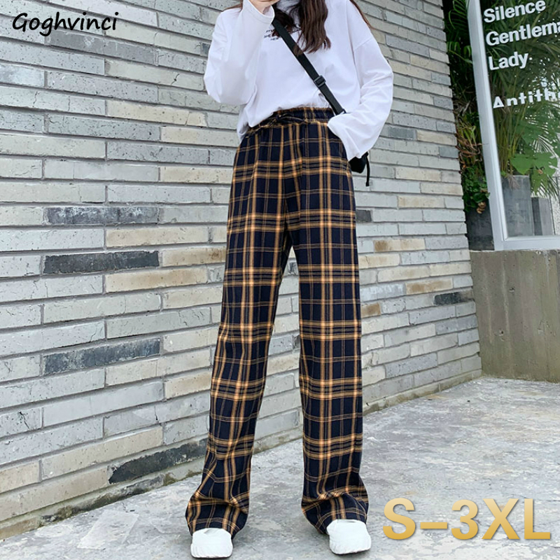 Casual Pants Women Plaid Loose Plus Size 3XL Summer Breathable Womens Straight Mopping Harajuku Capris Streetwear Hip-hop Trendy