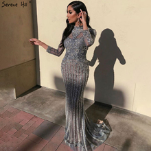 Serene Hill Muslim Grey Luxury Long Sleeves Evening Dress 2020 Mermaid Diamond Sequins Sparkle Formal Party Gown CLA70199
