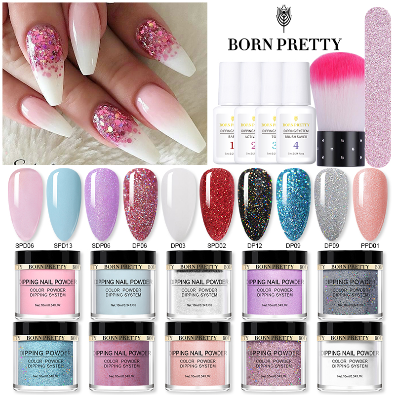 BORN PRETTY Dipping Nail Powder System Power Natural Dry Pigment Dust Nail Art Decorations Nails Accessories 10ml