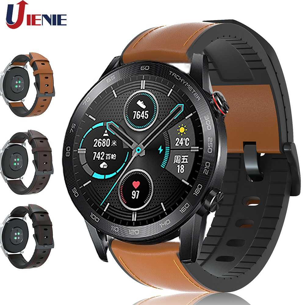 Correa de reloj de cuero para Huawei Honor Magic 2 46mm/ Dream/ 2e gt2 gt, pulsera de repuesto de 22mm para reloj 2 Pro