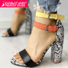Women's Ladies Fashion Mixed Colors High Heels Buckle Sandals Casual Sh