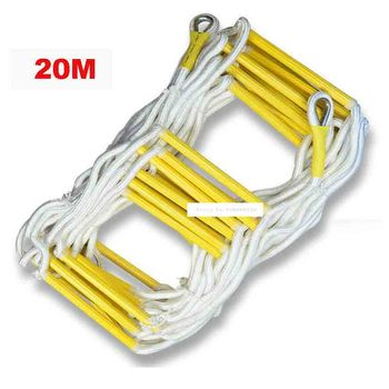 20M Rescue Rope Ladder 4-5th Floor Escape Ladder Emergency Work Safety Response Fire Rescue Rock Climbing Anti-skid Soft Ladder
