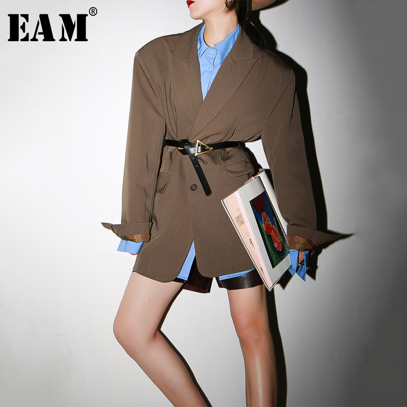 [EAM]  Women Brown Brief Shaped Big Size Blazer New Lapel Long Sleeve Loose Fit  Jacket Fashion Tide Spring Autumn 2020 1S203