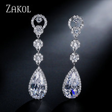 ZAKOL Fashion Water Drop Cubic Zirconia Crystal Long Dangle Earrings Bridal Wedding Jewelry For Elegant Women FSEP311