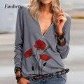 2021 повседневное женское платье с принтом V образным вырезом блузки рубашки весенние свободные штаны на молнии пуловер Топы элегантная женс...