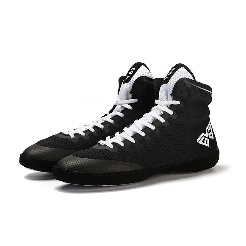 2019 الرجال المهنية الملاكمة المصارعة القتال الأحذية شبكة تنفس يمكن ارتداؤها دعم الرجال التدريب أحذية مصارعة