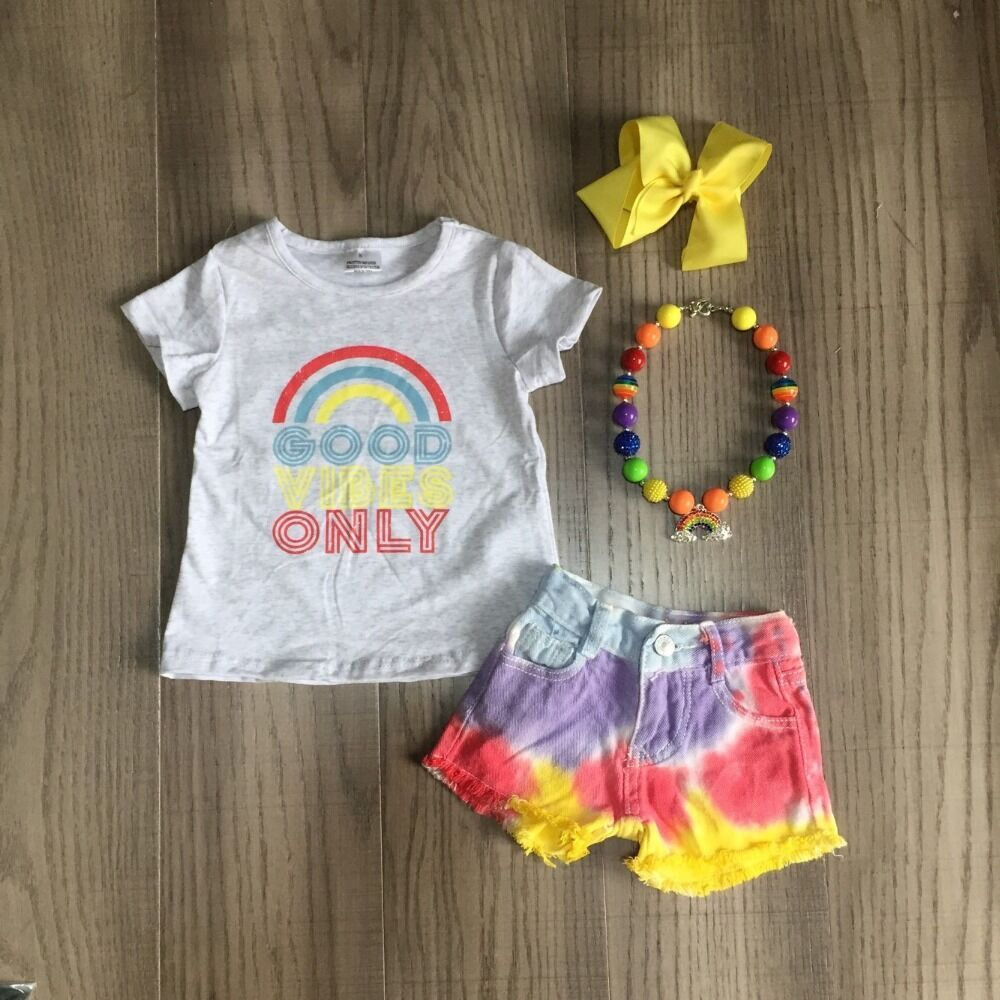 Baby Girls Summer Outfits Girls Rainbow Shirt Girl Tie Dye Jeans Shorts Girl Outfits With Accessories