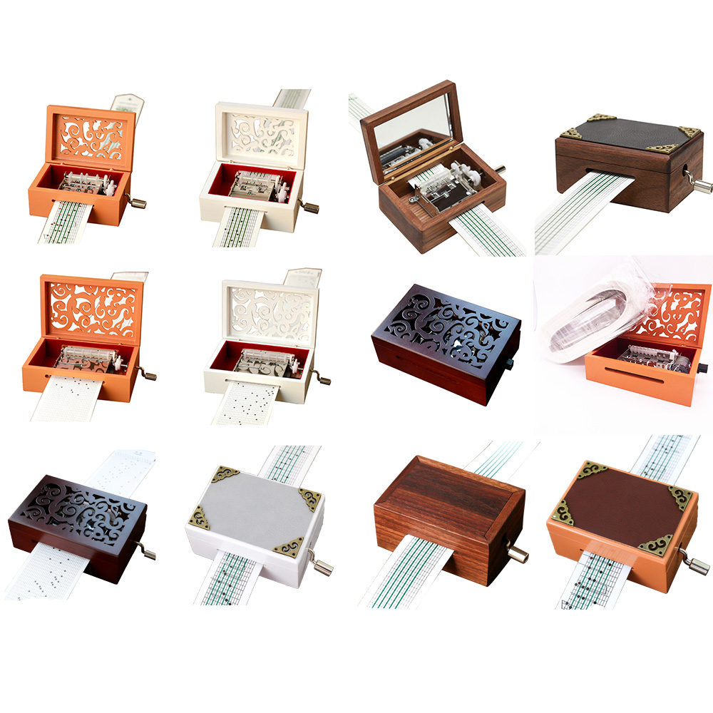 Vintage Carved Wood 15 Note 30 Note Mechanism with 30 Paper Stripes Musical Box Handcrank Music Box Gift Christmas Gift