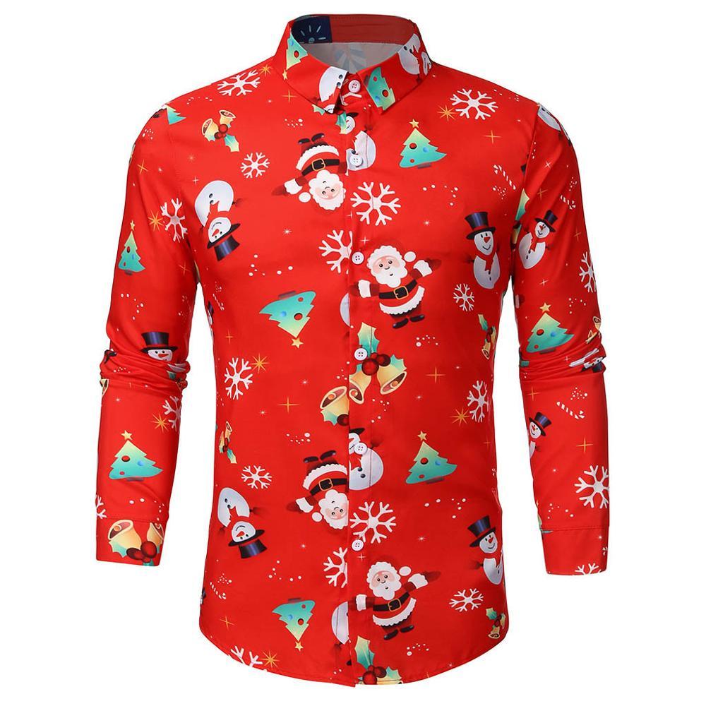 Men Shirt Christmas Xmas Winter Casual Santa Claus Snowman Candy Print Long Sleeve Streetwear Men Shirt Blouse Top Chemise Homme