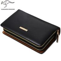 Kangaroo Kingdom Brand Luxury Men Clutch Bags Split Leather Handbag Double Zipper Business Hand Bag for Man