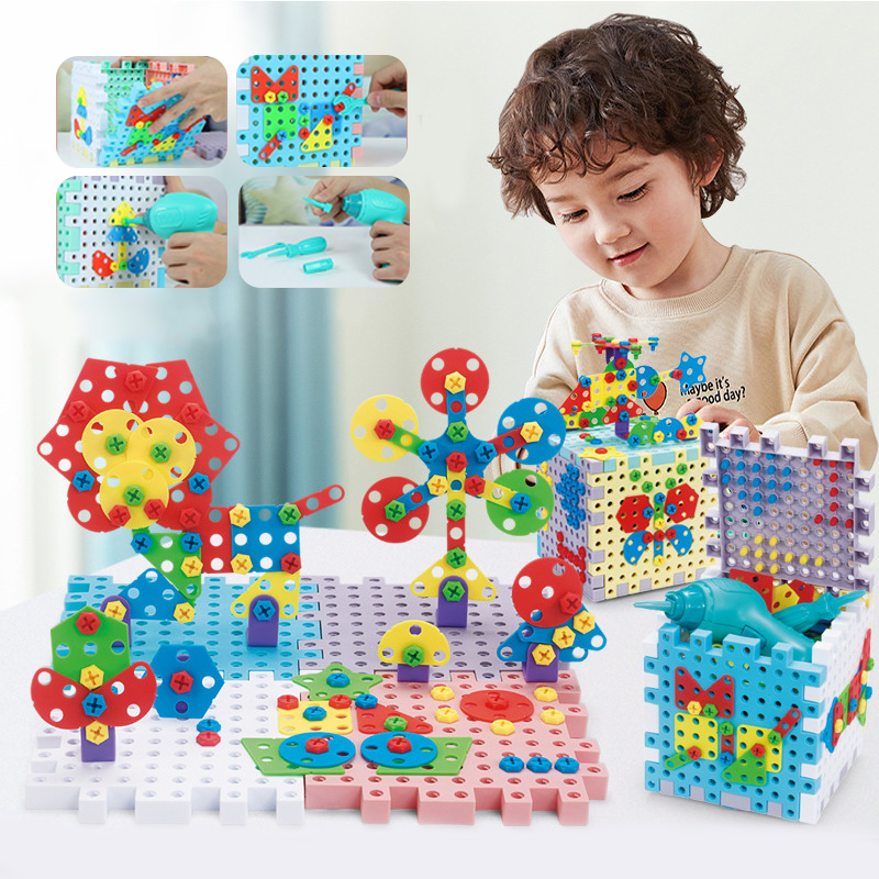 Drilling Screw 3D Creative Cube Nut Puzzles Toys Pretend Play Tool Electric Drill Set Educational Toys For Children