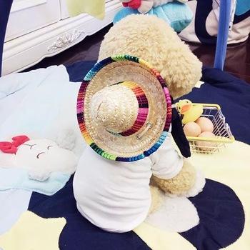 Kreatywne Mini psy domowe słomkowy kapelusz Sombrero kot niedz kapelusz impreza na plaży kapelusze słomkowe psy Kawaii kapelusz na akcesoria dla psów tanie i dobre opinie wsryxxsc Stałe 16 cm 6 3 8 cm 3 15 -9 cm 3 54 7 cm 2 76