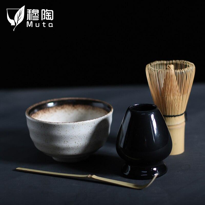 MUTAO 4 шт./компл. традиционный матча giftset натурального бамбука веничек для чая «маття» scoop ceremic чаша для маття держатель японский чайный сервиз