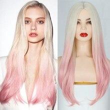 AZQUEEN longue ondulée synthétique Ombre Blonde perruque rose perruque pour les femmes Cosplay naturel moyen partie cheveux perruque haute température fibre