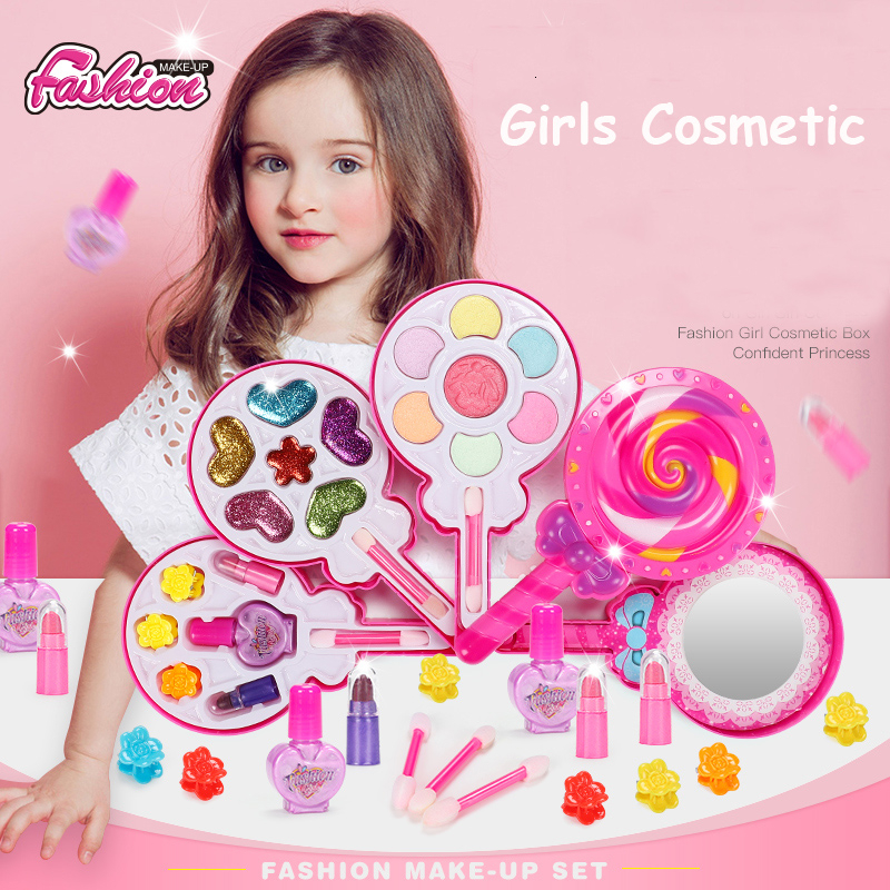 Children Make Up Toys Fashion Beauty Set Safe Non-toxic Make Up Kit For Girls Princess Dress Baby Cosmetic Toys Gifts