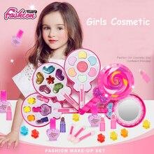 Juguetes de maquillaje para niños, conjunto de belleza a la moda, Kit de maquillaje seguro no tóxico para niñas, vestido de princesa, cosmético para bebés juguetes regalos