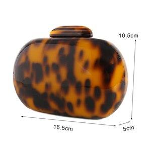 Image 2 - Mode Damen Handtasche Leopard Print Geldbörse Acryl Kupplung Tasche Oval Frauen Abend Tasche Vintage Party Geldbörse Schulter Tasche ZD1146