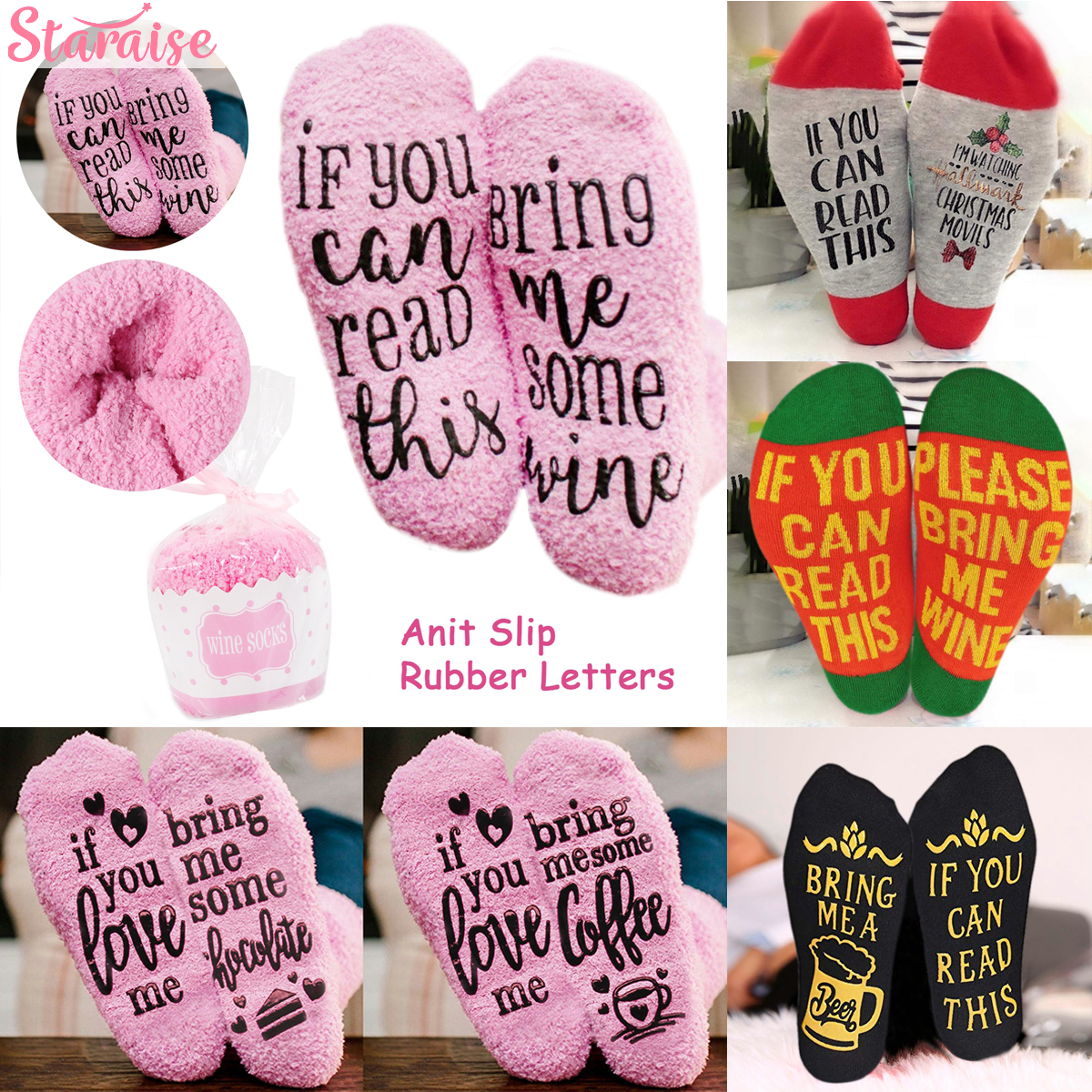 If You Can Read This Bring Me A Glass Of Wine/Beer Letter Print Stylish Cotton Socks Christmas Socks Gift Navidad New Year 2020