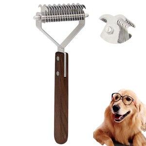 Двухсторонний грецкий орех, гребень для кошек собак, уход за волосами домашних животных, инструменты для ухода за стрижками, триммер для дом...