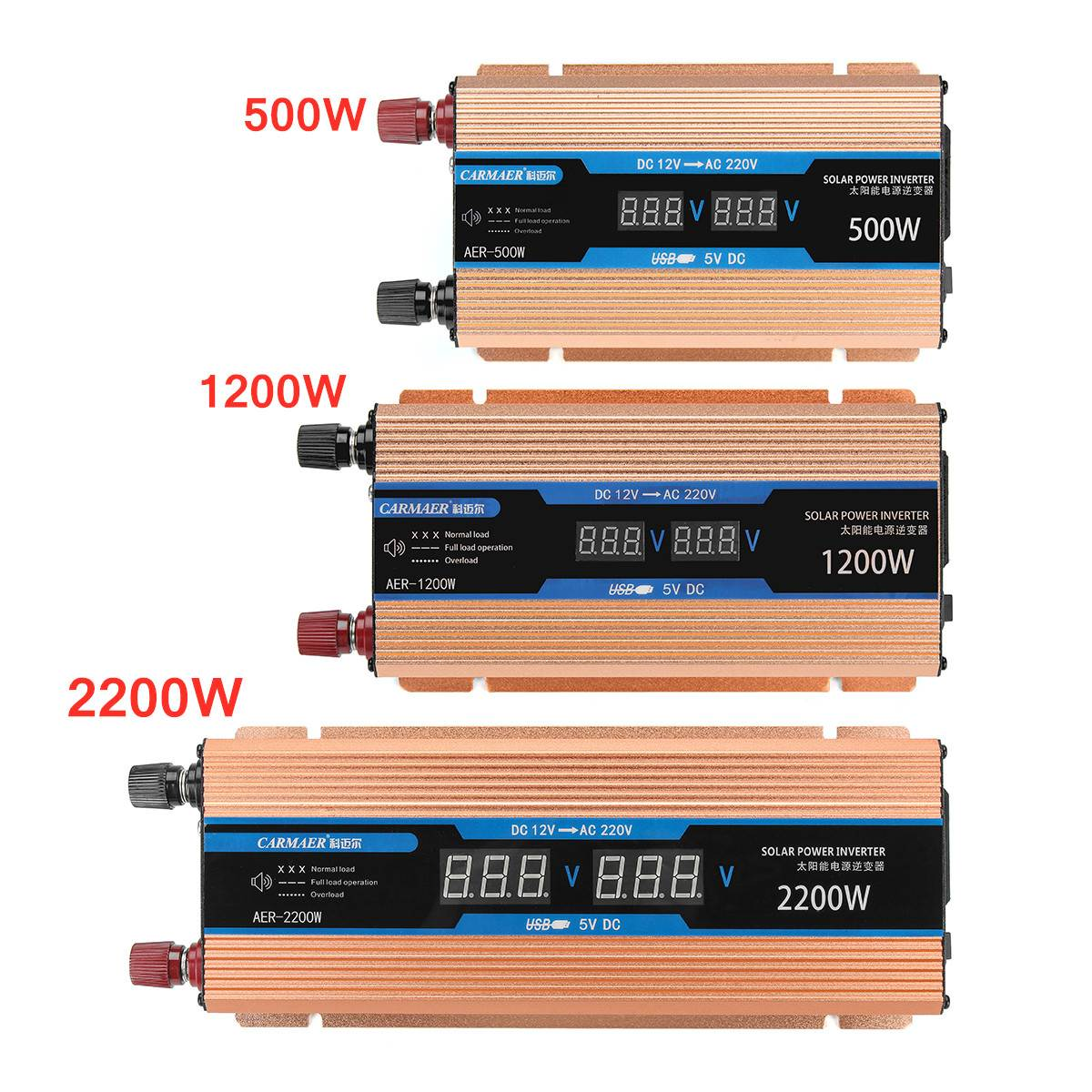 Double LCD Display Inverter 500/1200/2200W DC 12V/AC 220V Voltage Transformer Modified Sine Wave Power Inverter Smart Car Power