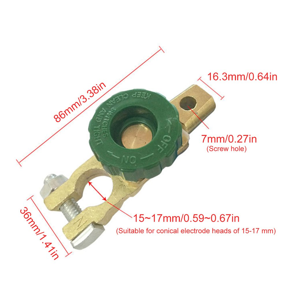 17mm Car Motorcycle Battery Terminal Link Quick Cut-off Switch Rotary Disconnect Isolator Car Truck Auto Vehicle Parts