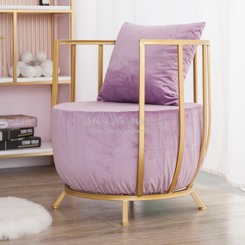 Customized Modern Simple Gold Frame Chair Luxury Fashion Queen Princess Sponge Sofa  With Flannel Padded Cushion Metal IronTable