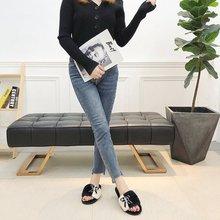 Liren 2019 New Summer Butterfly-knot Fur Slides Women Slippers Warm Flip Flops Fluffy Soft Flat Funny Home Indoor Shoes