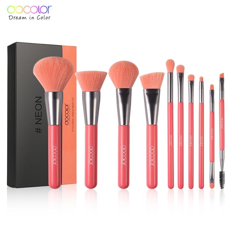Docolor 10 Uds pinceles blandos de maquillaje Neon Peach polvo de pelo sintético rubor Fundación pinceles de contorno para maquillaje Set|rizador de pestañas|   - AliExpress