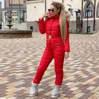 Neue Winter Mit Kapuze Overalls Parka Elegante Baumwolle Padded Warm Schärpen Ski Anzug Gerade Zipper One Piece Frauen Casual Trainingsanzüge