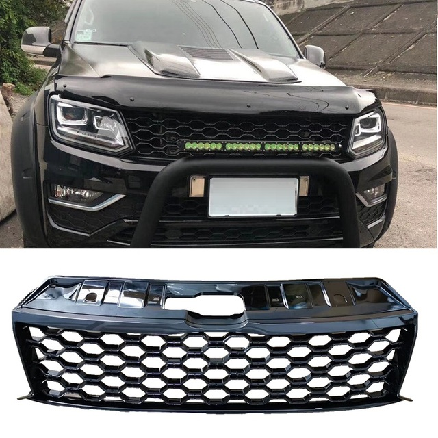 AUTO PICKUP CAR ACCESSORIES FRONT MESH MASK COVER ABS GRILLS GRILLE FIT FOR VW AMAROK 2015-2019 VEHICLE GRILL PARTS