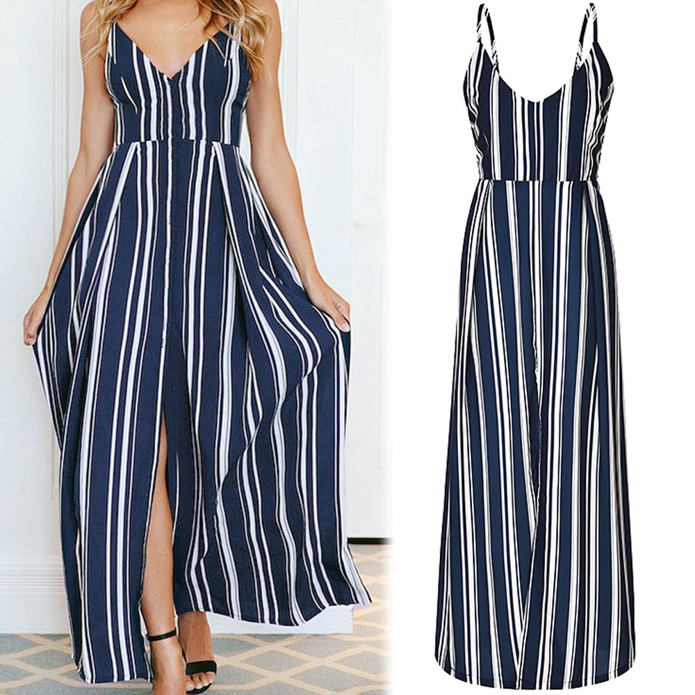 Fashion Women Sleeveless Sexy Backless Dress Summer Striped Floral Print Long Dresses Femal V Neck Vestidos Lady Casual Clothes