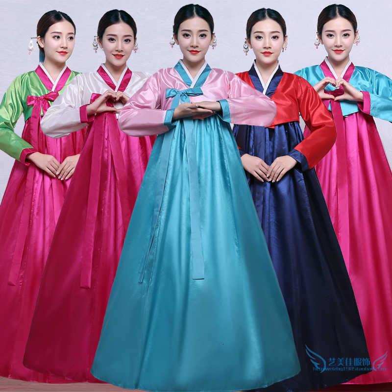 2020 ססגוניות באיכות גבוהה מסורתי קוריאני Hanbok שמלת נקבה קוריאני עממי שלב ריקוד תלבושות קוריאה מסורתי תלבושות