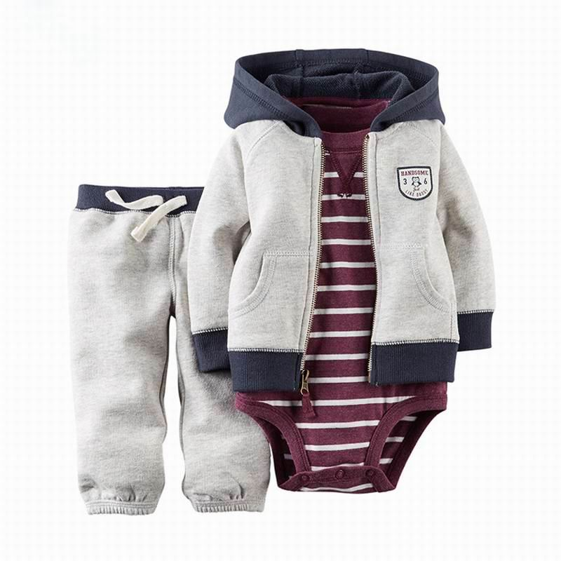 2020 комплекты для маленьких мальчиков и девочек комбинезон с длинными рукавами + пальто с капюшоном + штаны костюм из 3 предметов детская одежда E22358 2