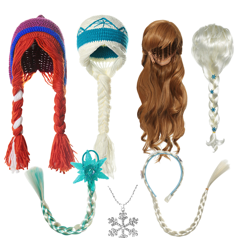 VOGUEON New Elsa Anna Princess Accessories For Baby Girls Fancy Wigs Crochet Hats Necklace Headband Braids Children Party Gifts